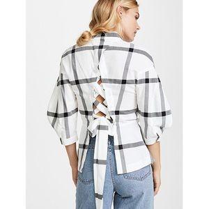 DEREK LAM 10 CROSBY | lace up back plaid shirt 4